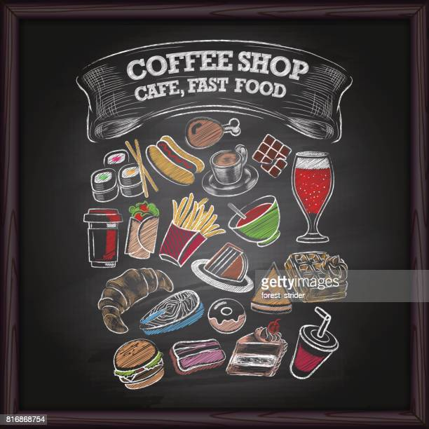 coffe shop and fast food icons on chalkboard - waffle stock illustrations, clip art, cartoons, & icons