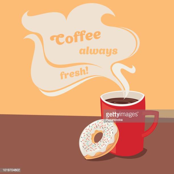 coffee always fresh! - donut stock illustrations, clip art, cartoons, & icons