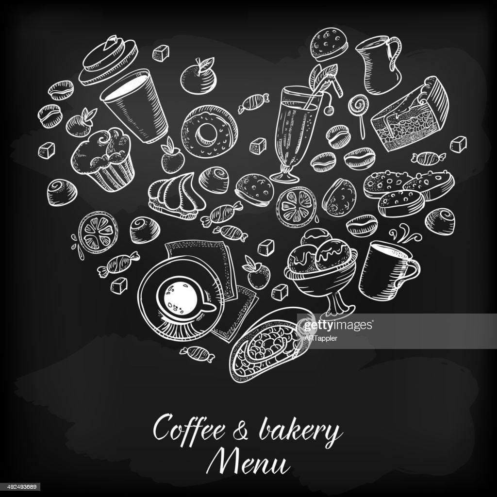 Coffee and bakery hand drawing illustration