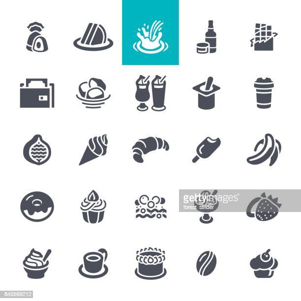 coffee and bakery shop icons set - sweet bun stock illustrations, clip art, cartoons, & icons