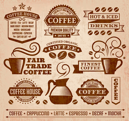 Coffee and Cafe Grunge royalty free vector arts Collection - gettyimageskorea