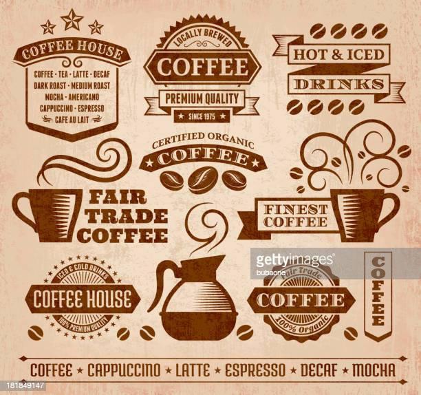 Kaffee und Cafe Grunge lizenzfreie vektor-Kunst-Kollektion