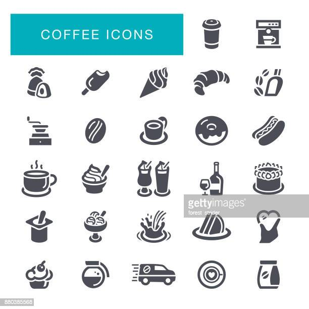 coffee and cafe icons - rum stock illustrations, clip art, cartoons, & icons