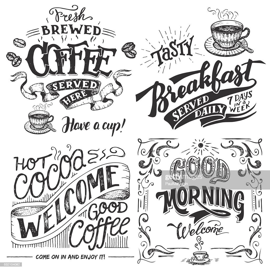 Coffee and cocoa for breakfast hand lettering set