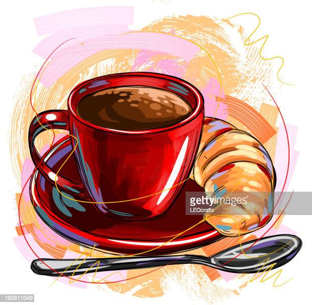 ilustrações, clipart, desenhos animados e ícones de café e croissant - croassão