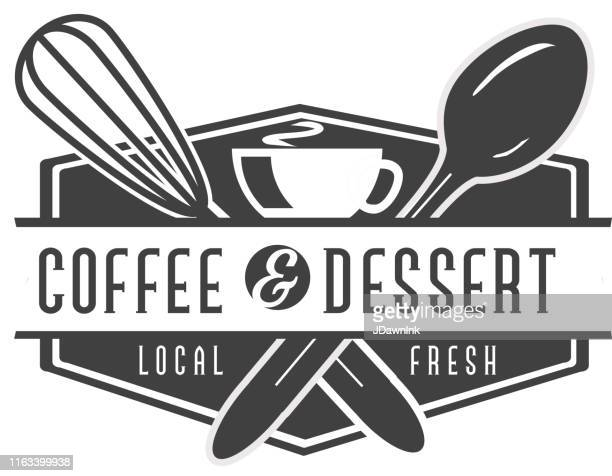 coffee and dessert labels with text designs as well as restaurant utensils - egg beater stock illustrations, clip art, cartoons, & icons
