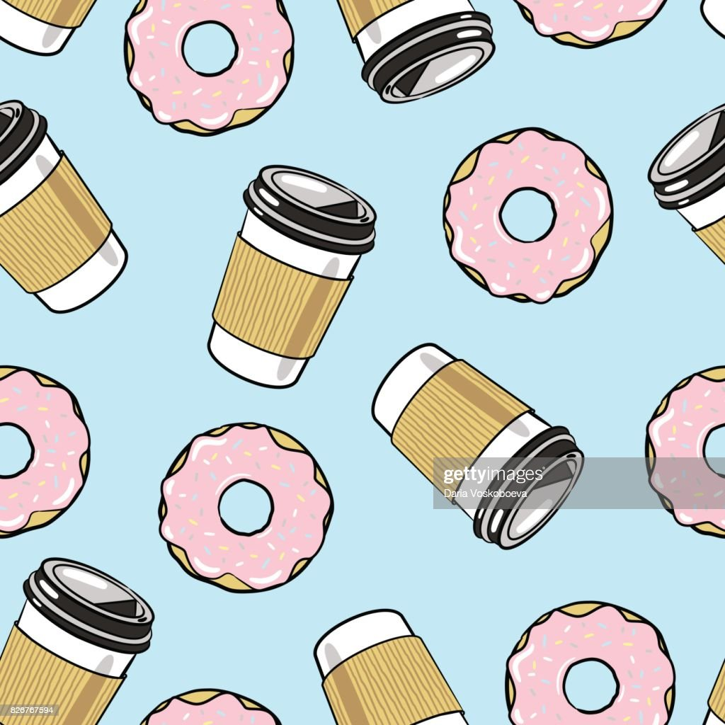 Coffee and Donuts Seamless Vector Pattern