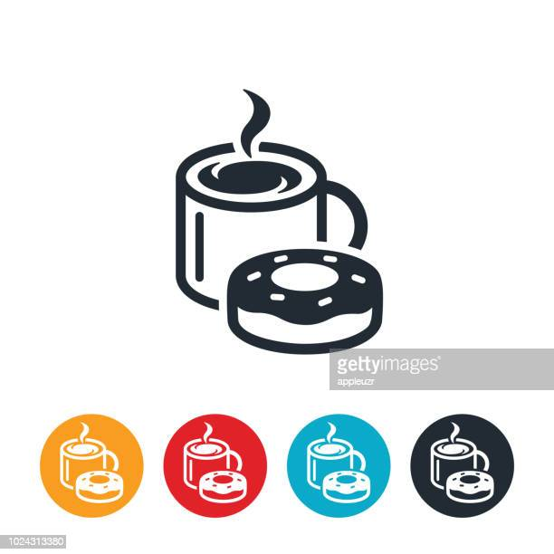 coffee and doughnut icon - donut stock illustrations, clip art, cartoons, & icons