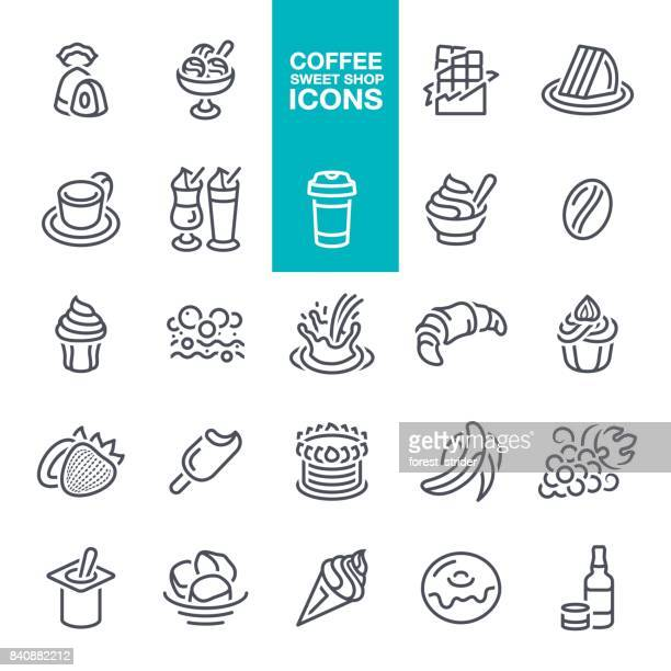 coffee and sweet shop icons - sugar food stock illustrations, clip art, cartoons, & icons
