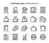 Coffee and tea, bold line icons