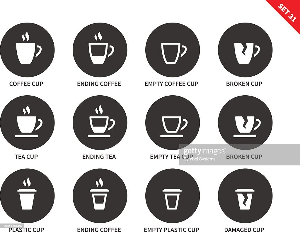 Coffee and tea cups icons on white background