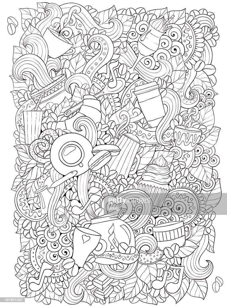 Coffee and tea doodle background in vector with paisley.