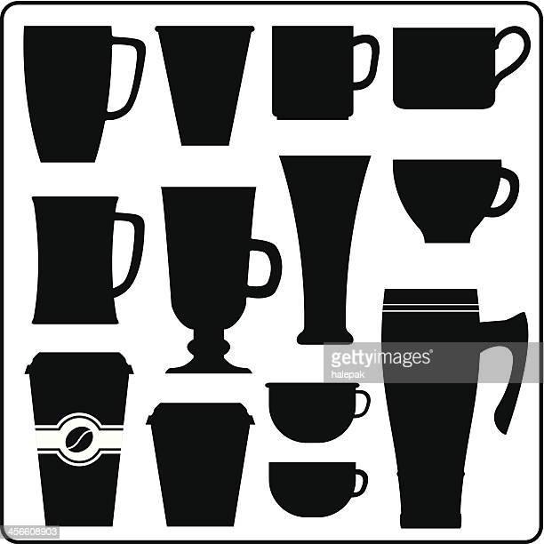ilustraciones, imágenes clip art, dibujos animados e iconos de stock de de café y té bebida caliente recipientes - chocolate caliente