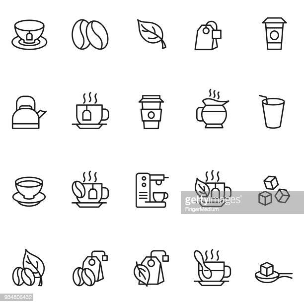 coffee and tea icon set - coffee stock illustrations