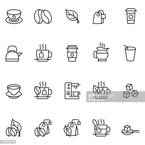 コーヒーとティーのアイコンを設定します - 温かいお茶点のイラスト素材/クリップアート素材/マンガ素材/アイコン素材