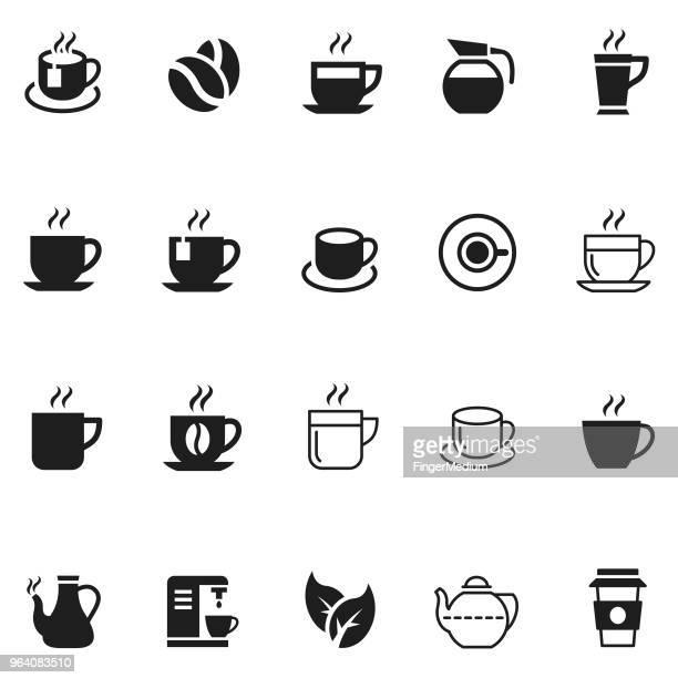 coffee and tea icon set - saucer stock illustrations
