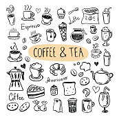 Coffee and tea icons. Cafe menu, sweets, cups, cookies, desserts
