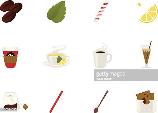 コーヒーとティーのアイコン - ペパーミント点のイラスト素材/クリップアート素材/マンガ素材/アイコン素材