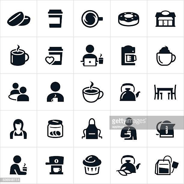 coffee and tea icons - coffee drink stock illustrations