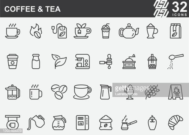 illustrations, cliparts, dessins animés et icônes de icônes de ligne de café et de thé - café