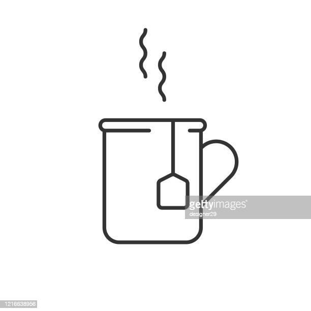 stockillustraties, clipart, cartoons en iconen met koffie en thee mok icon line vector ontwerp. - koffiepauze