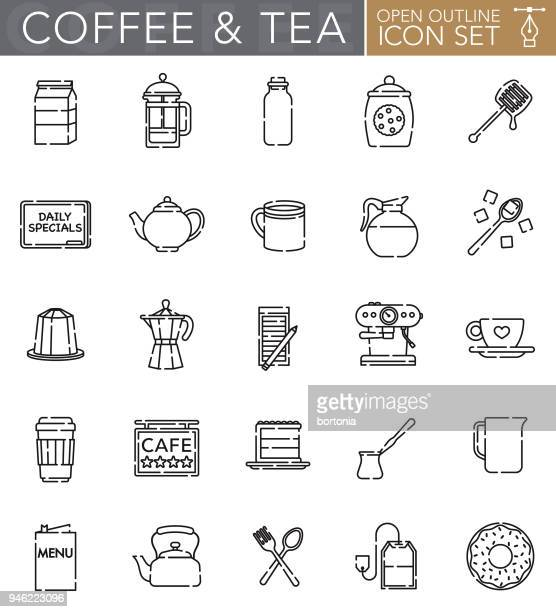 Coffee and Tea Open Outline Icon Set