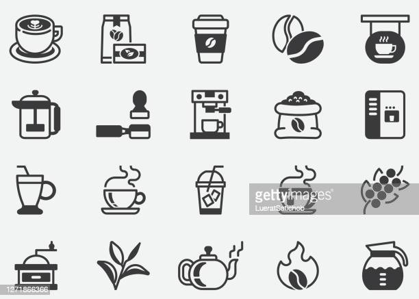 coffee and tea.coffee cafe vector line icon set.contains such icons as hot coffee.coffee machine.pixel perfect icons - cafe stock illustrations