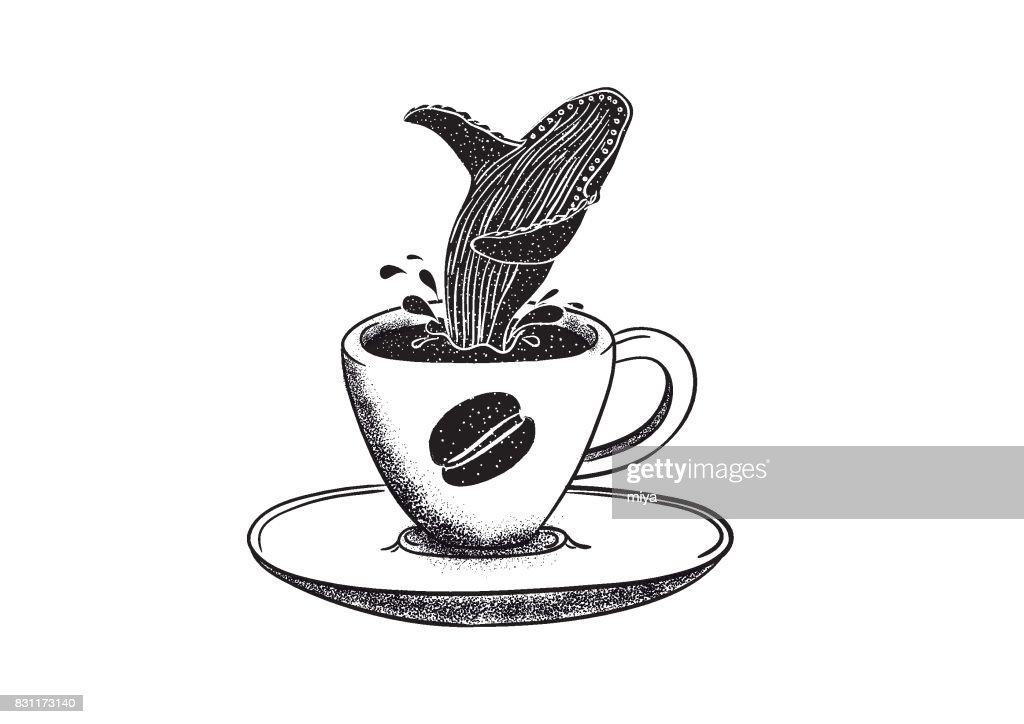 Café e baleia : Ilustração