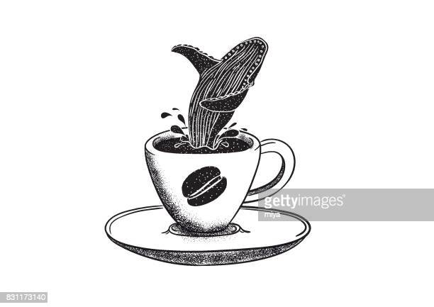 coffee and whale - humpback whale stock illustrations, clip art, cartoons, & icons