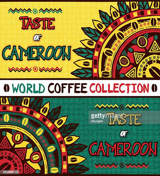 coffee background taste of cameroon, hand drawn design elements - cameroon stock illustrations, clip art, cartoons, & icons