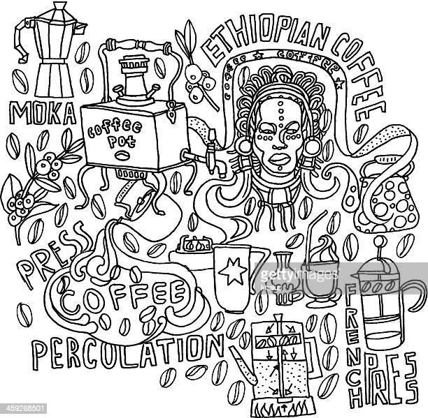 ilustrações, clipart, desenhos animados e ícones de fundo de café - ethiopia