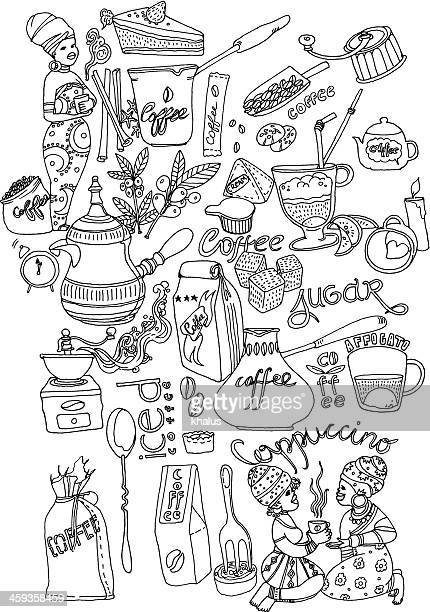 coffee background - sugar food stock illustrations, clip art, cartoons, & icons
