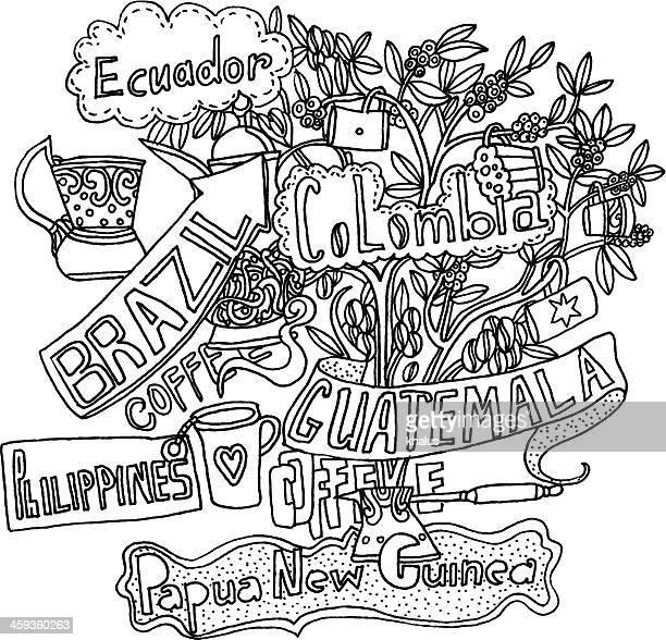 coffee background - guatemala stock illustrations, clip art, cartoons, & icons