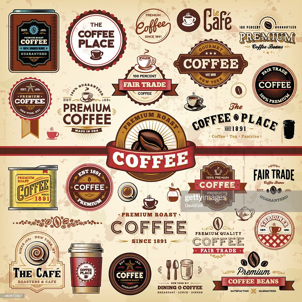 Coffee Badges & Labels : Stock Illustration