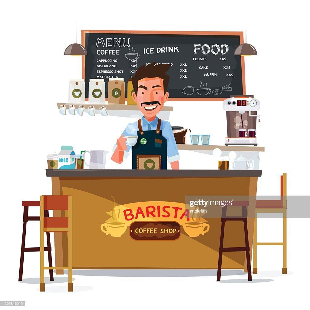 coffee bar and barista man. character design - vector