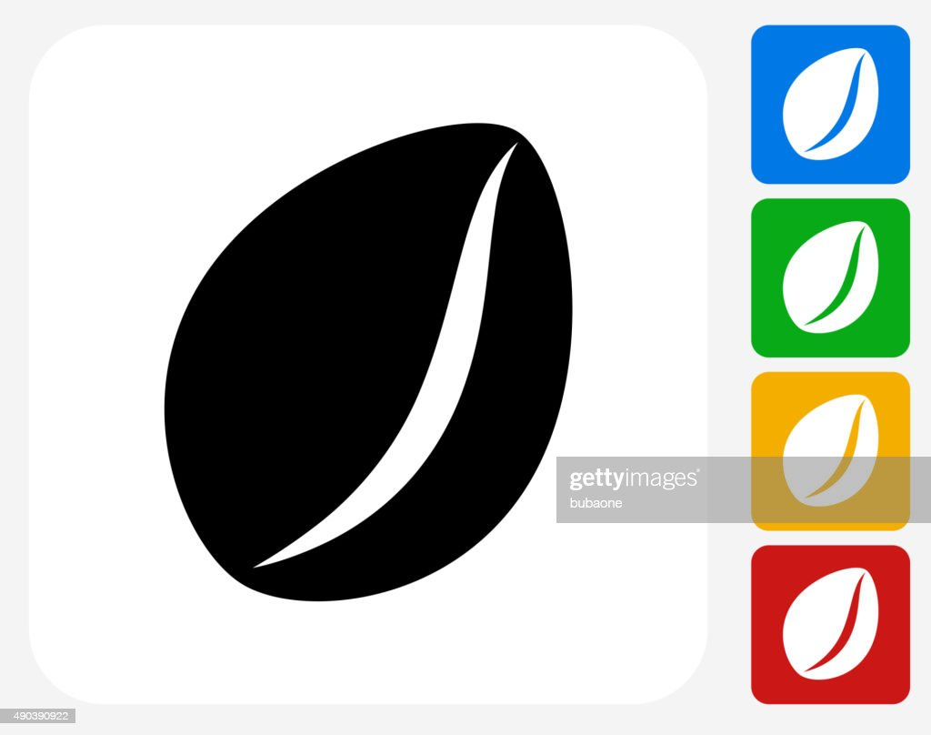 Coffee Bean Icon Flat Graphic Design Vector Art Getty Images