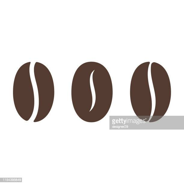coffee bean icon. - roasted coffee bean stock illustrations