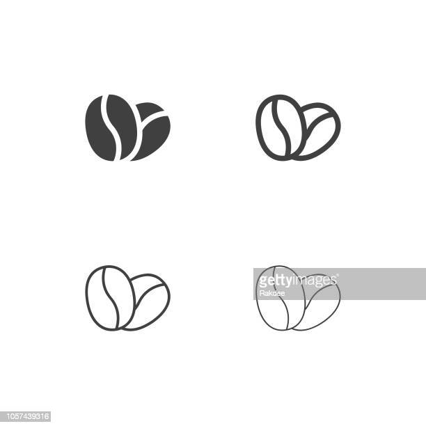 coffee bean icons - multi series - roasted coffee bean stock illustrations