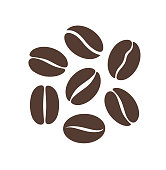 Coffee bean logo. Isolated coffe beans on white background