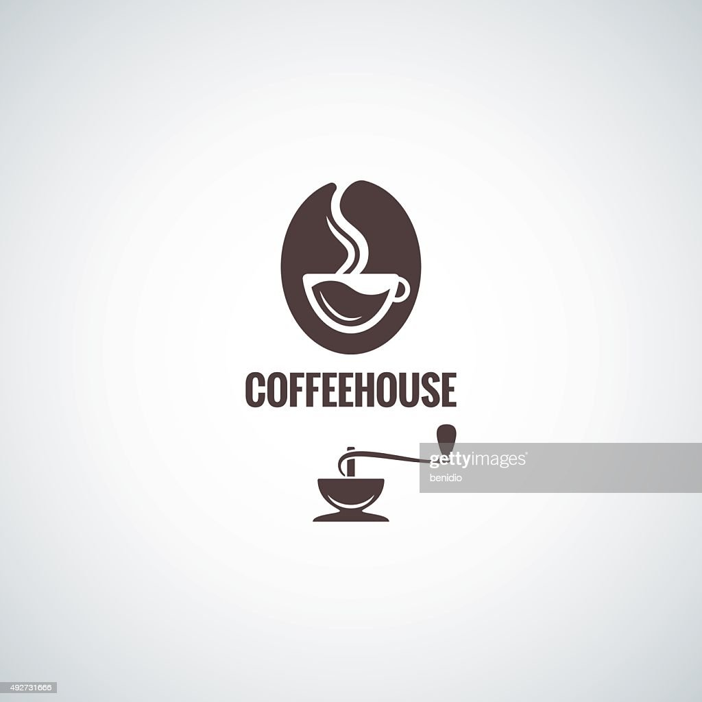 coffee bean with cup logo design background