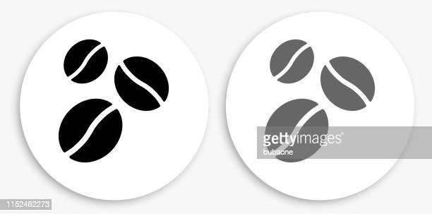 coffee beans black and white round icon - roasted coffee bean stock illustrations