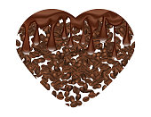 Coffee Beans Hart Shape with Drops of Melted Chocolate Isilated on White Background.