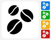 Coffee Beans Icon Flat Graphic Design