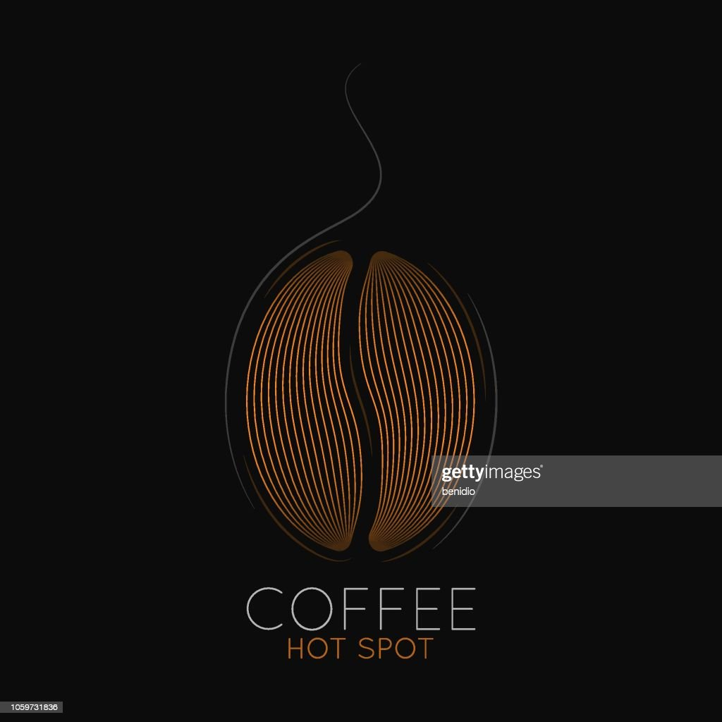 Coffee beans logo. Coffeehouse or cafe label on black background