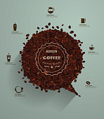 Coffee beans with empty speech bubbles