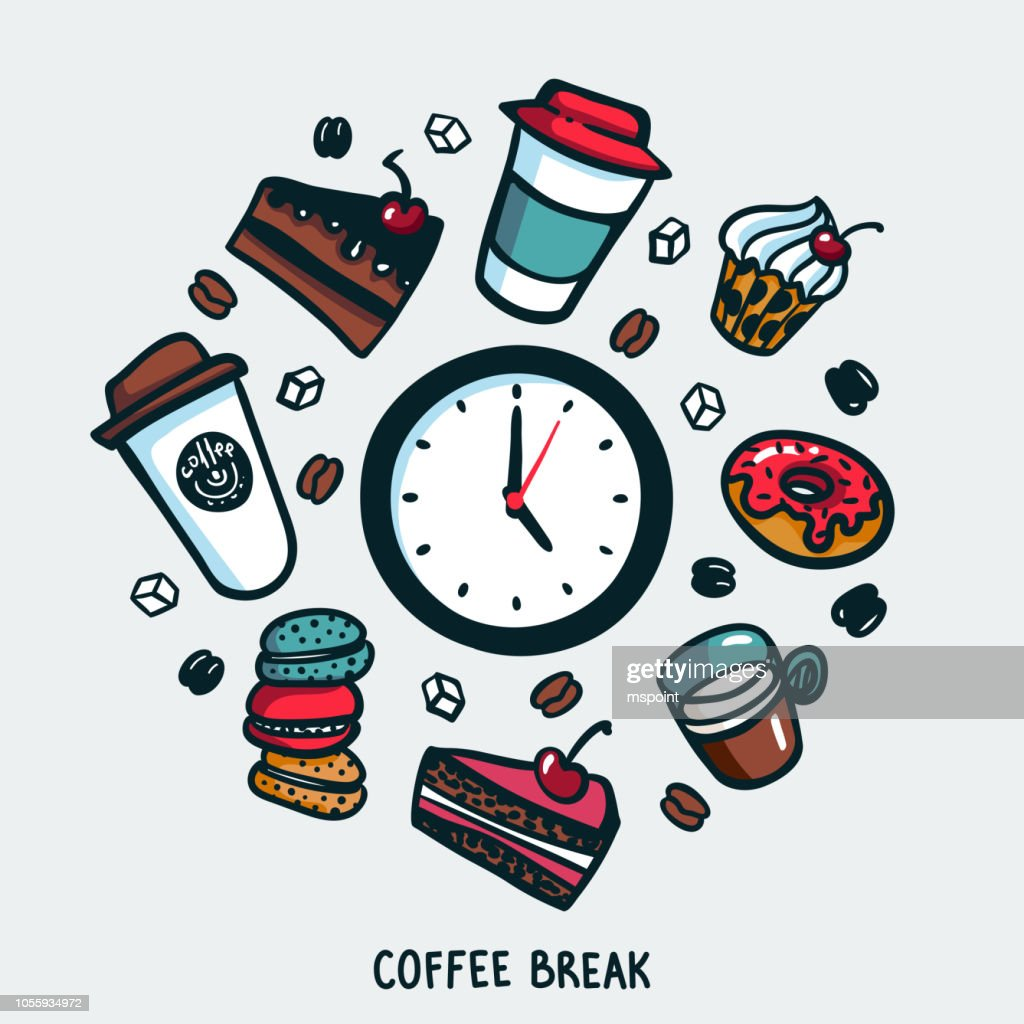 Coffee break concept. Time for a coffee break. Colourful doodle style cartoon set of objects and symbols on coffee time theme. Coffee cups and sweets on light background. Vector illustration