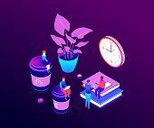 Coffee break - modern vector isometric colorful illustration