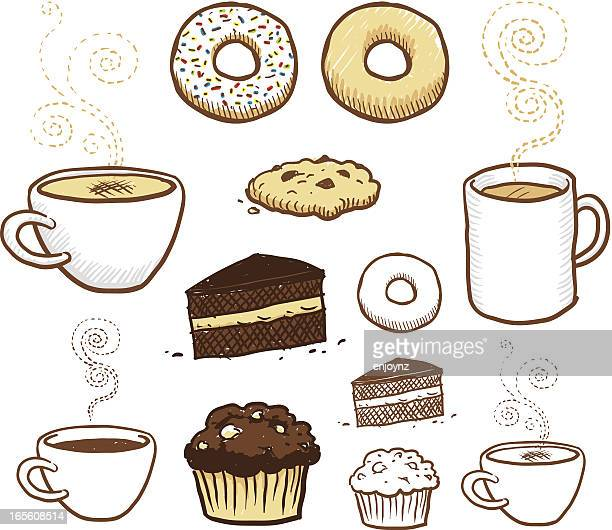 coffee break - muffin stock illustrations, clip art, cartoons, & icons