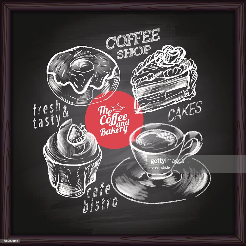 Coffee cafe menu and bakery on chalkboard : stock illustration