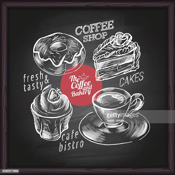 coffee cafe menu and bakery on chalkboard - donut stock illustrations, clip art, cartoons, & icons